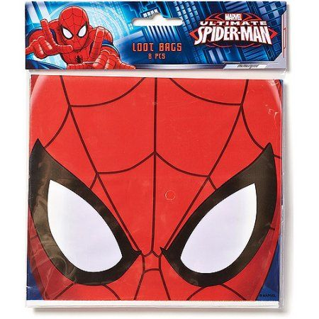 Spider-Man Treat Bags, Pack of 8, Party Supplies, Multicolor