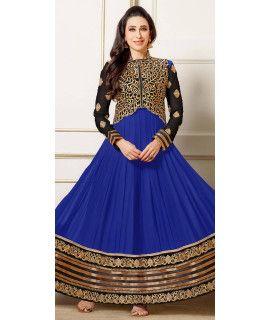 Antique Blue And Beige Georgette Anarkali Suit.