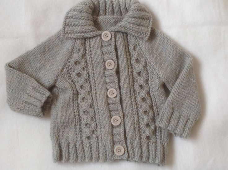 Irish Knit Baby Sweater / Cardigan with Collar to Fit a 3-6 month Baby Boy or Larger 26 inch Reborn baby Doll  Ready to Ship by Meganknits4charity on Etsy