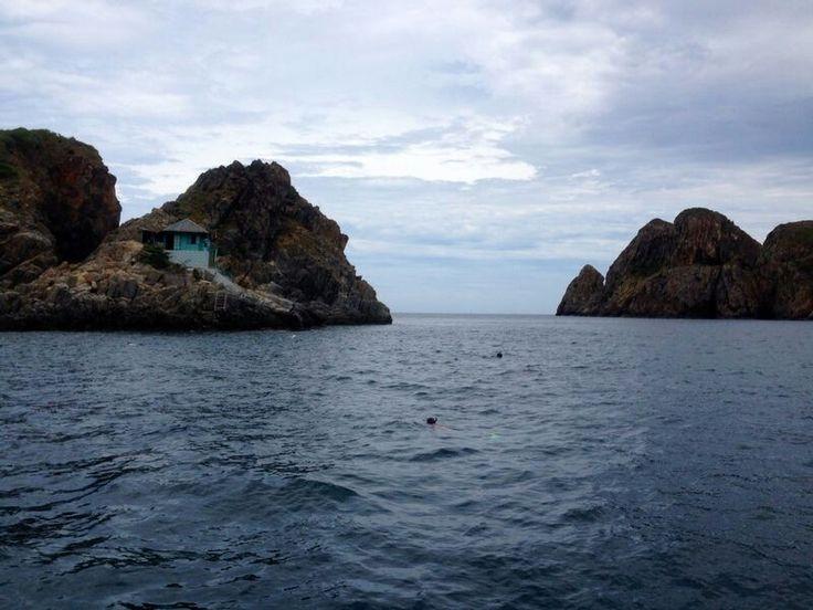 House on an island.  Snorkeling tour. Nha Trang. Vietnam