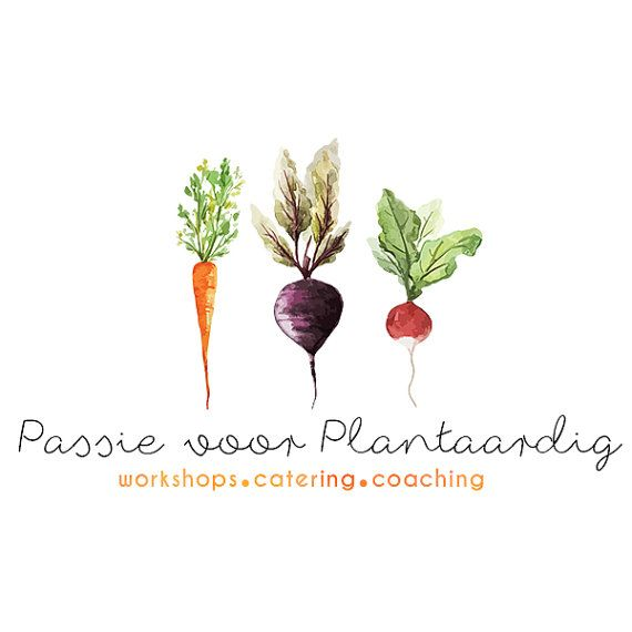 Pre-made Logo Design - Watercolor Roots Vegetable Beet Carrot Radish - Raw Vegan Food Blog - Vegetarian Natural Food Blog - Plant Based Logo