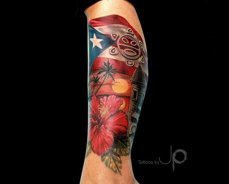 "My Newest ""Sock"" Tattoo... This is My Puerto Rico!!! Tatt by Artist JP Roldan @ Demon Ink Houston."