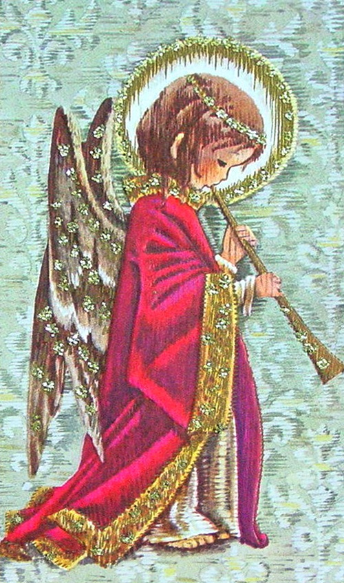 Vintage Christmas Card with an angel playing an instrument! (1/2/2014)  Christmas  (CTS)