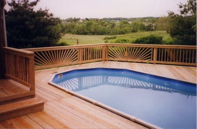 Above around pools with decks in a vintage mood simple for Above ground pool decks attached to house