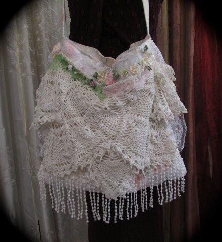 Layered Doily Purse, white shabby romantic lace embellished doily ribbon roses bag, handmade fabric purse by TatteredDelicates