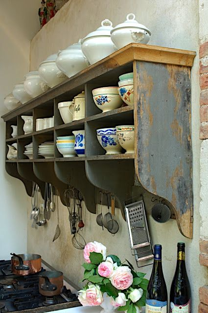 Old shelf for teacup storage