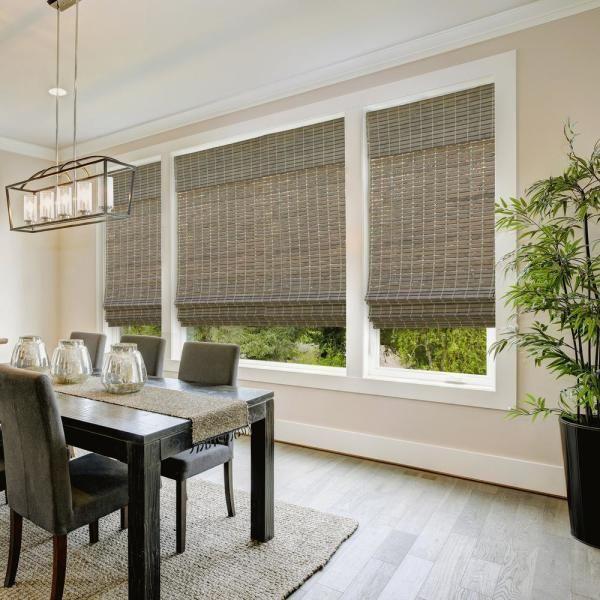 Pin By Sheryl Kimberley On Dyi In 2021 Bamboo Shades Bamboo Roman Shades Window Treatments Living Room
