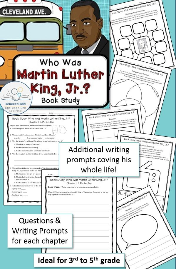 Martin Luther King Jr. book study  to correlate to the book Who Was Martin Luther King, Jr.? by Bonnie Bader | Rebecca Reid - Line upon Line Learning $