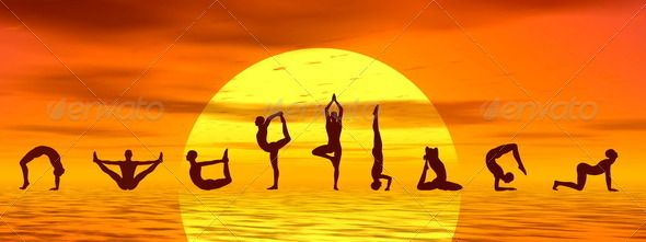 Yoga asanas by sunset - 3D render - Stock Photo - Images