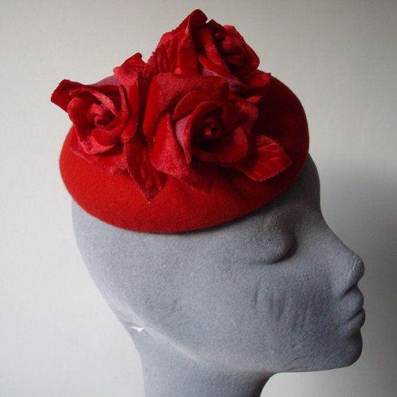 Red Felt Hat with Red Velvet Roses by ImogensImagination on Etsy