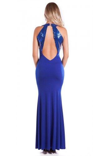 Spoločenské šaty s holým chrbtom Royal Blue