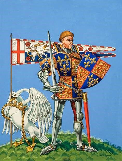 Король Генри V с геральдическими эмблемами Ланкастеров. Герб Франции и Англии на щите. Флаг с антилопой (да, этот зверь антилопа) и красными розами.