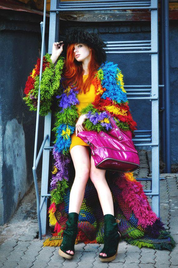 Jacket coat crochet lace designer tapestry wool by RuchkiKruchkI, $7200.00