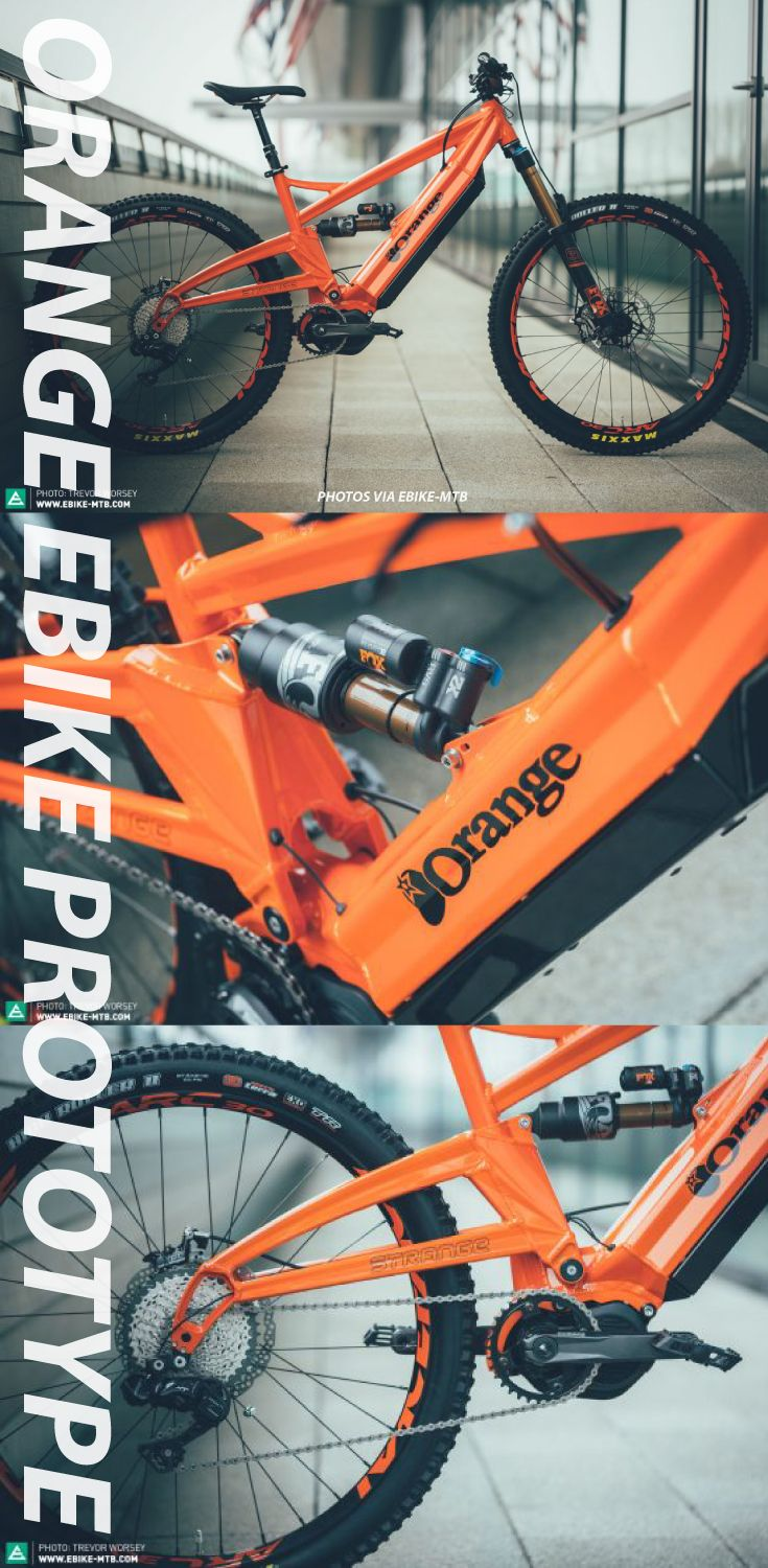 Spy Shots of the Shimano Step fitted Orange electric bike. Although a prototype hence the Strange badging, this mid drive enduro ebike is serious! MTB will not be the same on this powered bike.