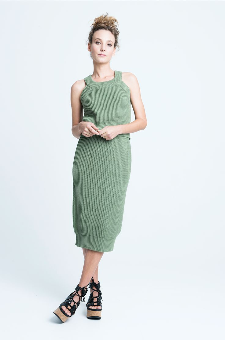 sara bailes x knit crop top x knit skirt x green