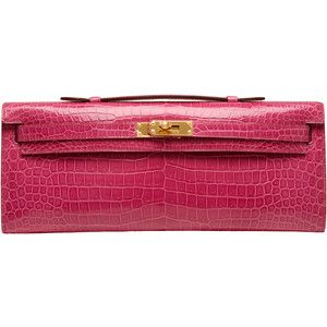 Pre-Owned Hermes Fuchsia Shiny Niloticus Crocodile Kelly Cut Gold Hardware