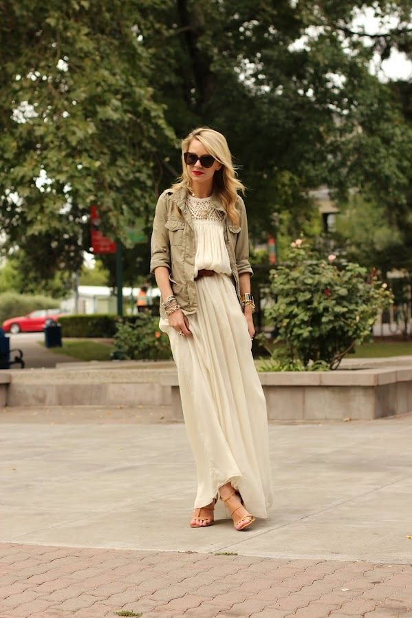 Atlantic-Pacific. Love the neutral color combo and the contrast of the masculine and feminine with the flowy maxi dress and the military inspired cargo type of jacket!