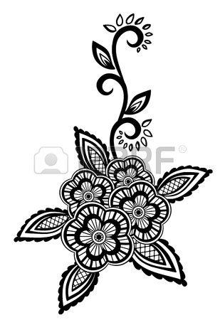 Elemento floral hermoso Flores negro y blanco y hojas de elementos de dise o con la imitaci n bordad Foto de archivo