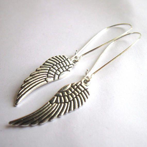Angel Wing Earrings Silver Plated Long Dangle Boho Jewellery