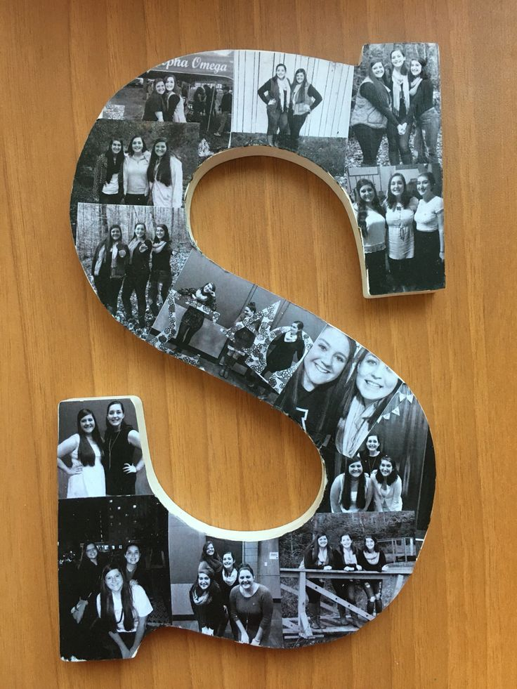 Photo collage wooden letter i made for my big sigma for Big wooden letter b