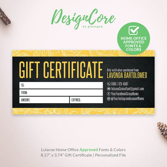 Lularoe Gift Certificate, Yellow Black Paisley, Home Office Approved, Personalized, Gift Card, Digital Files, Printable, Marketing, DCGC006