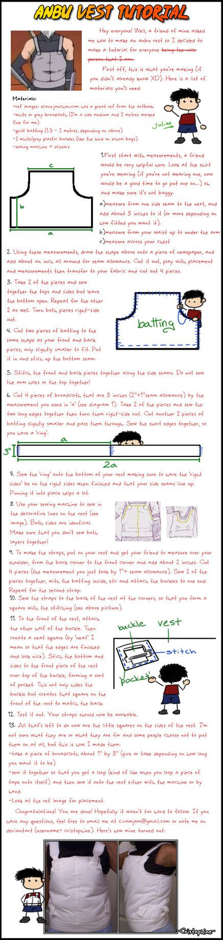 A friend asked me how to make an Anbu vest for cosplay, so I made a tutorial for everyone. This is my first tutorial so all suggestions are greatly appreciated. It's kinda big, sorry 'bout that. Oh...