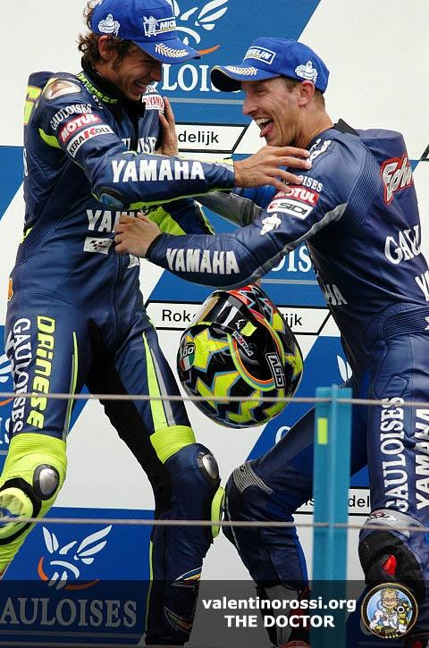 Colin Edwards and Valentino Rossi, on the podium, 2005.  Back when Colin had a good bike.