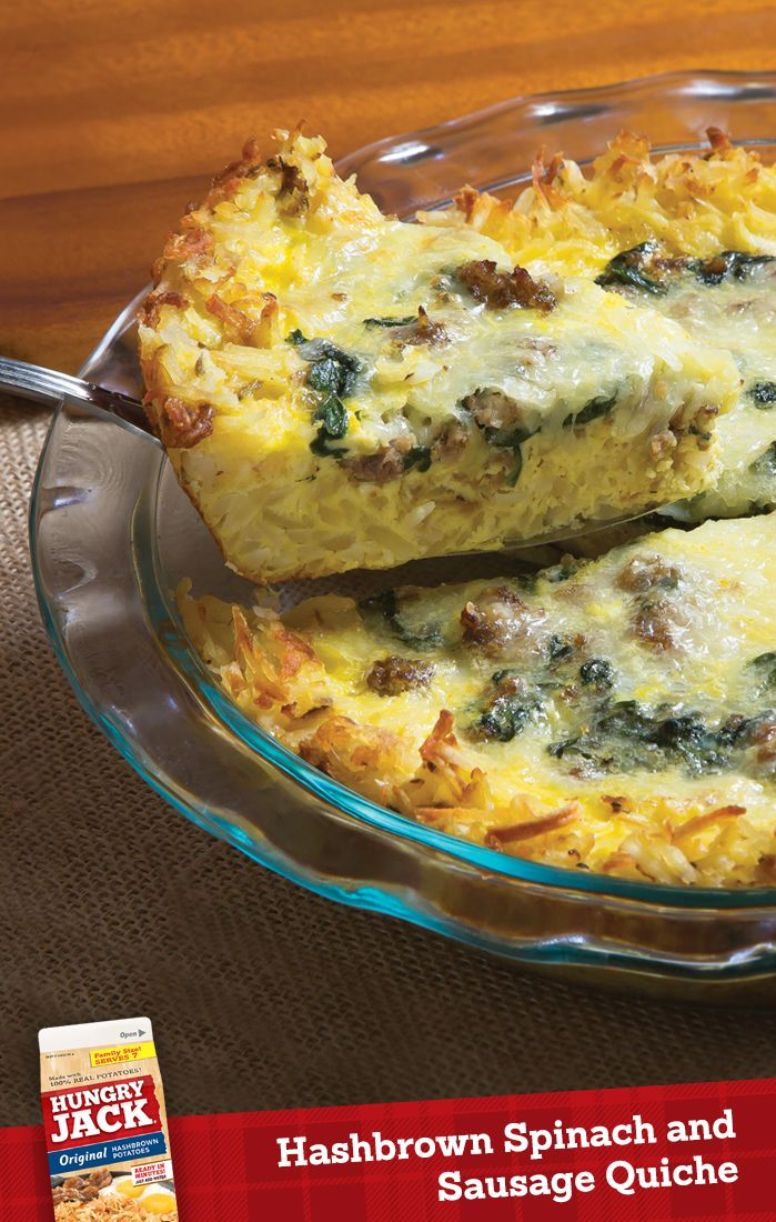 Hashbrown Spinach Sausage Quiche - perfect for springtime breakfast, lunch, dinner, or brunch.