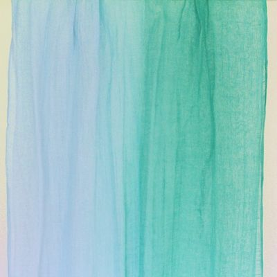 This breezy extra long scarf is made of pure linen with one baby blue strand periodically changing to a new sea green to create a soft transition from one color to the next.Pair with crisp white pants and sassy sandals for a date-worthy look.