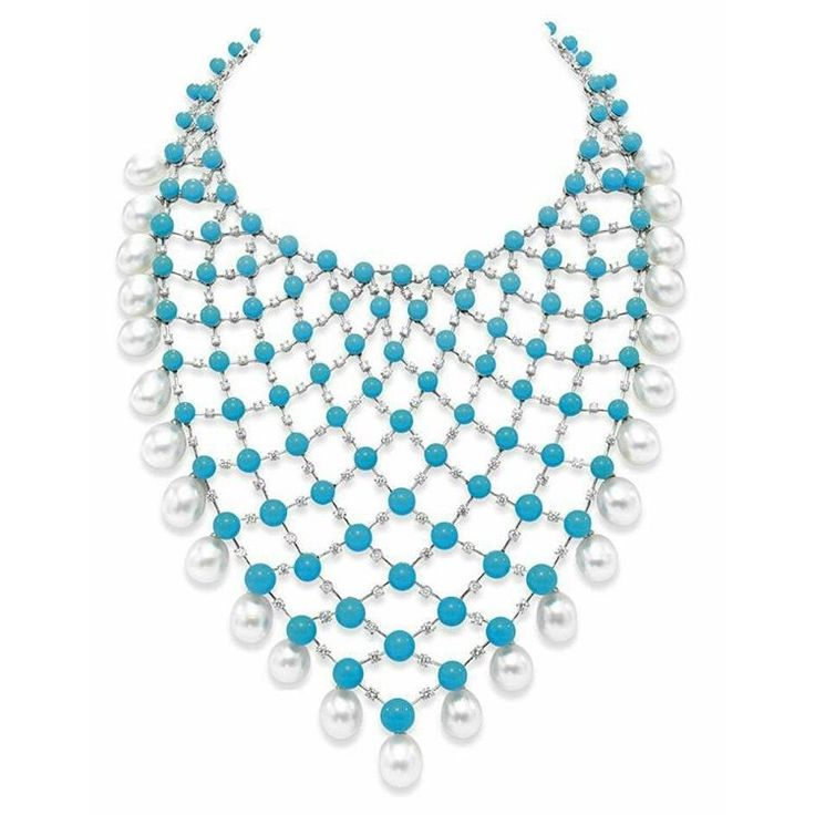 A #turquoise #diamond and #cultured #pearl necklace by House of Taylor. #houseoftaylor #jewelry #necklace #gems #craftmanship #masterpiece #colors #design #details #stylish #art #unique #luxury
