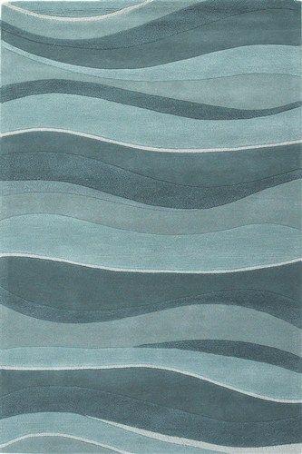 Ocean Blue Contemporary Circles & Waves rug