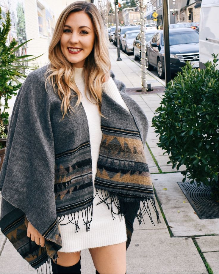 Sweater dress and wrap