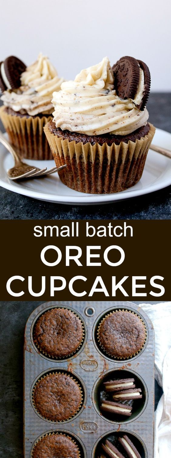 Cookies and Cream Cupcakes: small batch cupcakes made with Oreos! Oreo cupcakes! Small batch recipe makes just 4 cupcakes for dessert for two.
