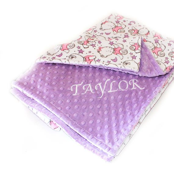 Personalized Pink, Lilac, & White Bear and Stars Minky Dot Baby Blanket  by sewingdreamsnotions  Girl Nursery Theme