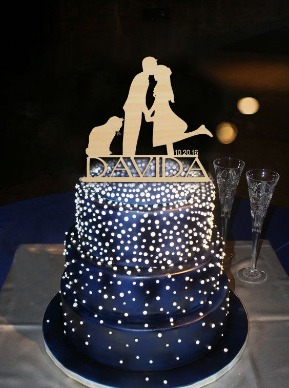 Personalized Custom Name Groom Kiss Bride with Cat Cake Topper Rustic Wedding Decoration for Couple Anniversary Cake Toppers
