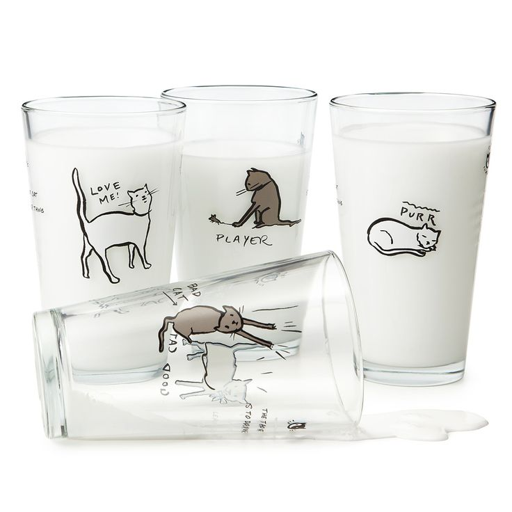 CAT TAO GLASSES - SET OF FOUR | cat cup, kitty, kitten | UncommonGoods