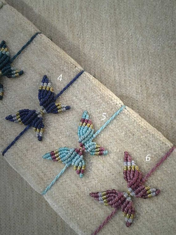 Macrame BUTTERFLY for bracelet or anklet 6 by WabiSabiMacrameArt