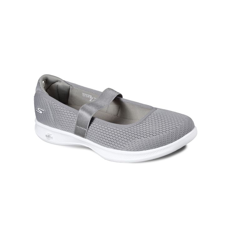 Skechers GO Step Lite Blooming Women's Mary Jane Shoes, Size: 9.5, Med Grey