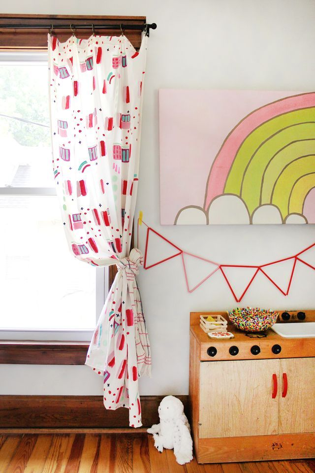 Make an abstract curtain panel to add some fun to any room!
