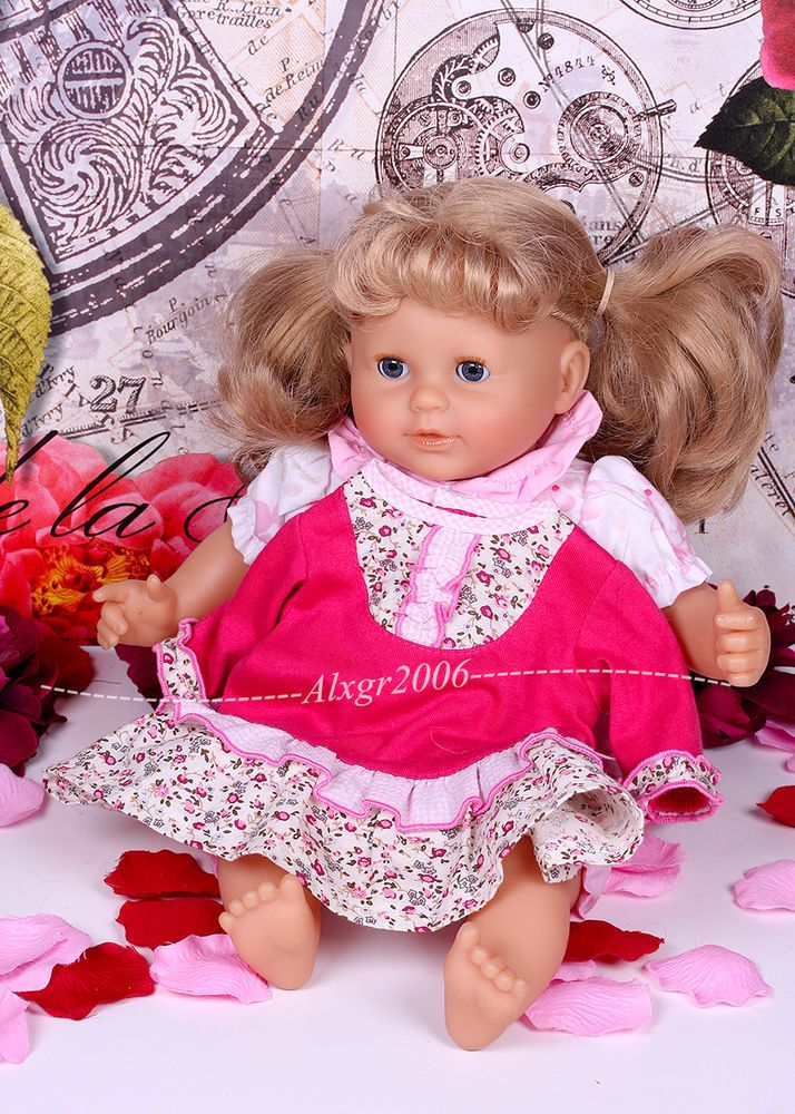 "2000 COROLLE 14"" DOLL, blond hair blue gray eyes extra dress good used condition"