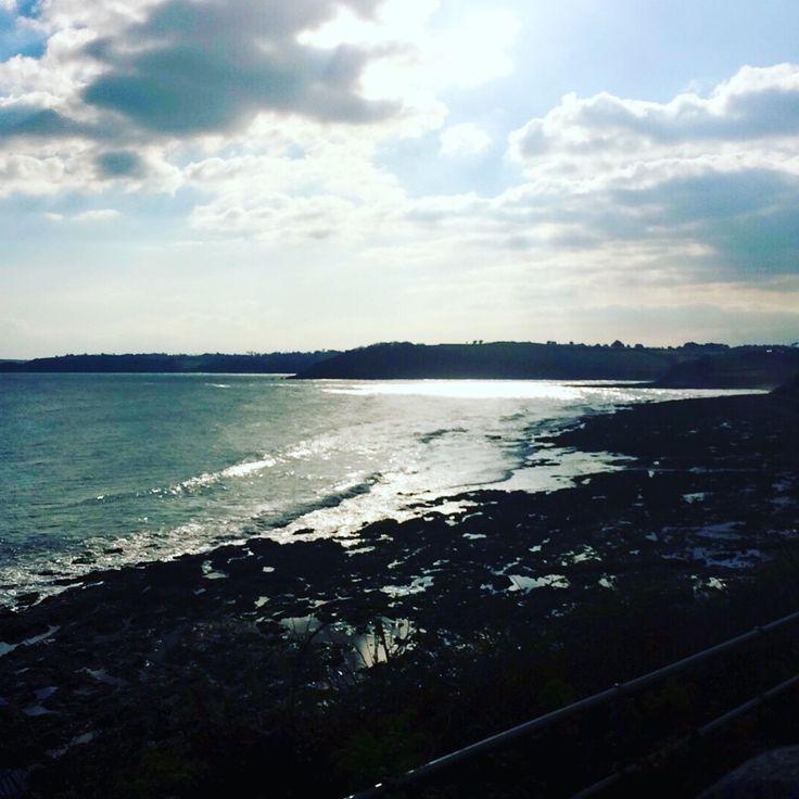 Walking along Gylly beach, Falmouth