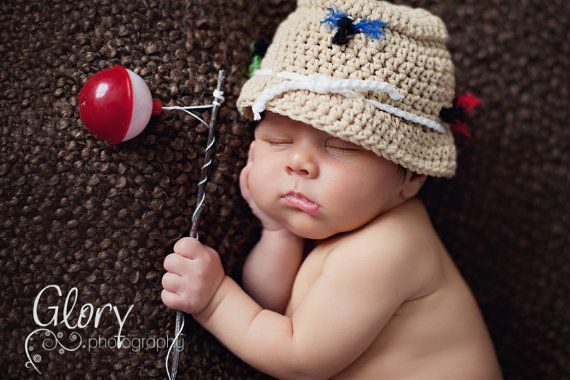 Baby Boy Fishing Hat  Newborn Photo prop by LandyKnits on Etsy, $25.00