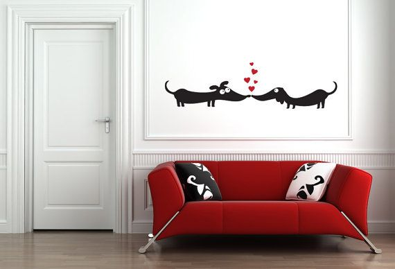 Dogs in Love Vinyl Wall Art by StreamlineDesign on Etsy, $19.95