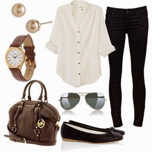 Black jeggings;white sheer button up; wedges or pumps; (studded leather heels); brown fringe bag
