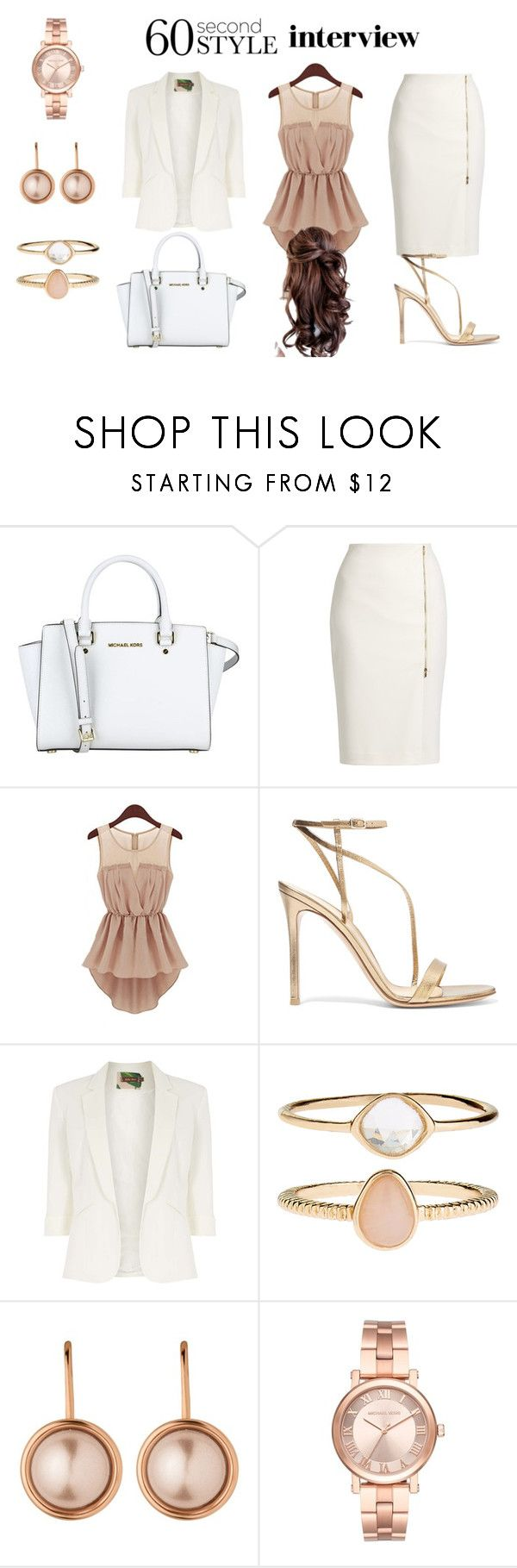 """Rose Gold"" by lydia-fabian ❤ liked on Polyvore featuring MICHAEL Michael Kors, MaxMara, Gianvito Rossi, Jolie Moi, Accessorize, Dyrberg/Kern, Michael Kors, jobinterview and 60secondstyle"