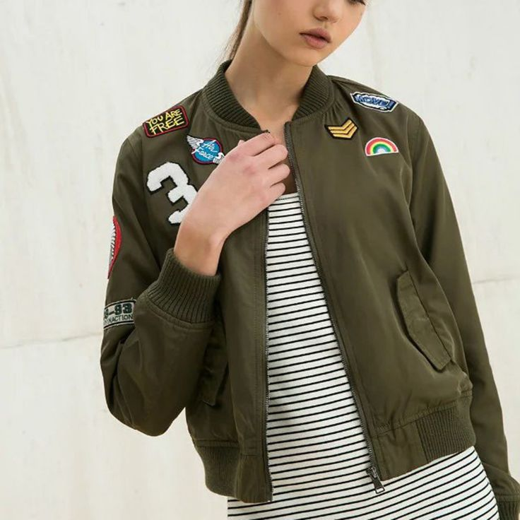 Cheap outerwear patterns, Buy Quality outerwear sale directly from China jacket supplier Suppliers: Punk Style Bomber Jacket Women 2017 Army Green Embroidered Cartton Letter PatternJacket Fashion Street Coat Casual Outer