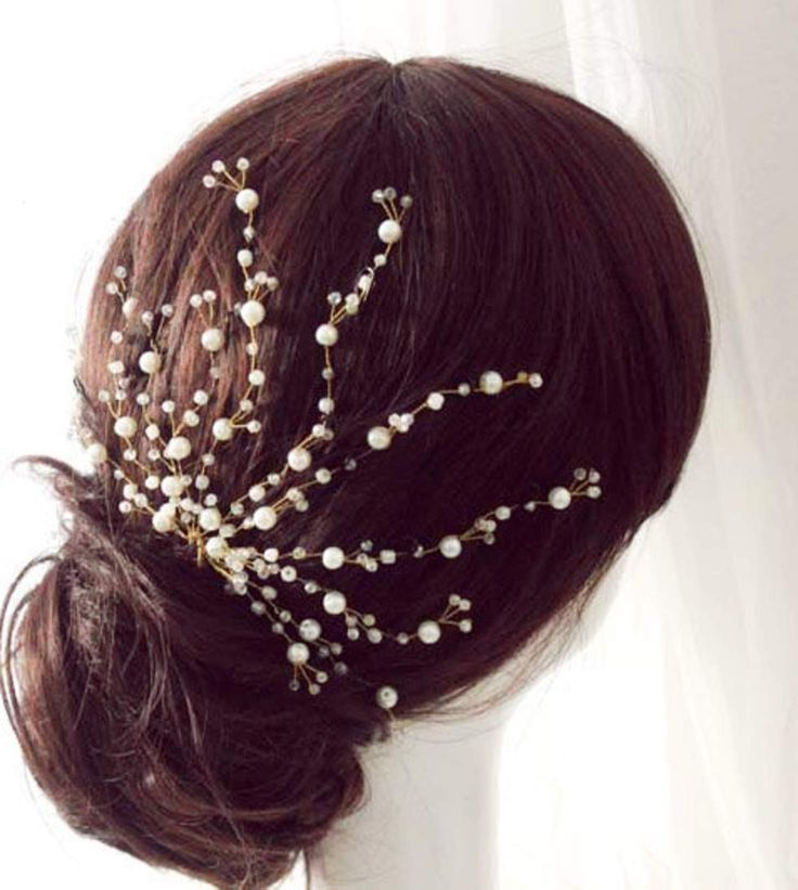 Bridal crystal hair comb, Bridal Wedding Freshwater Pearl headpiece, Floral Crystal hair Piece, Twisted Hand wired spray comb