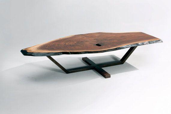 Iroquois Coffee Table DESCRIPTION American Walnut Slab / Blackened Steel Base DIMENSIONS 76 x 33 x 16 CUSTOM SIZING AVAILABLE