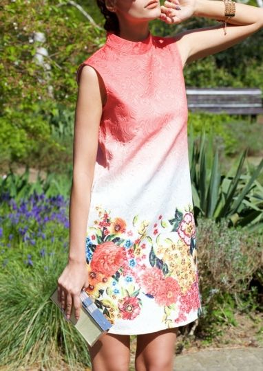 Rochie fara maneci cu imprimeu floral multicolor