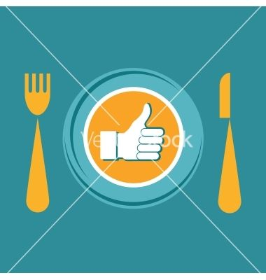 Thumbs up icon with plate fork and knife like food vector - by LipMic on VectorStock®
